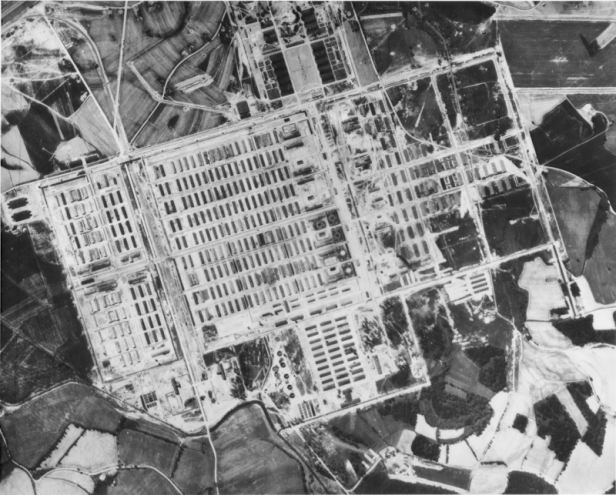 Concentration camp Auschwitz-Birkenau. This American air photo was taken on May 31, 1944. Ref. No. R G 373 Can D 1508, exp. 3055. - The railway spur is at the top left - no giant flaming pits can be seen, no flaming chimneys from crematoria, no sign of hundreds of people passively waiting to be gassed to death.