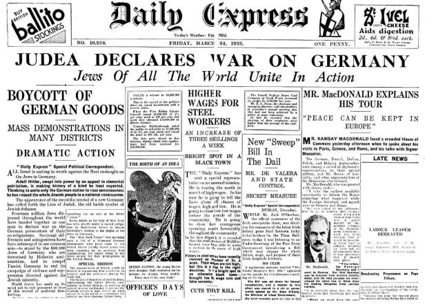 Judea Declares War on Germany - London's 'Daily Express' - 24 March 1933