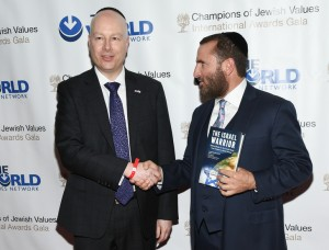 Donald Trump's Israeli advisor Jason Greenblatt, left, and Rabbi Shmuley Boteach attend the Champions of Jewish Values International Awards Gala at the Marriott Marquis on Thursday, May 5, 2016, in New York. (Photo by Evan Agostini/Invision/AP)