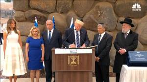 Trump's visit to 'Vad Vanshem', Israel's Holocaust memorial. (image via NBC News)
