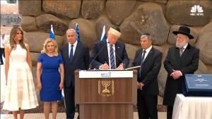 Trump's visit to 'Vad Vanshem', Israel's Holocaust memorial. (image via NBC News)
