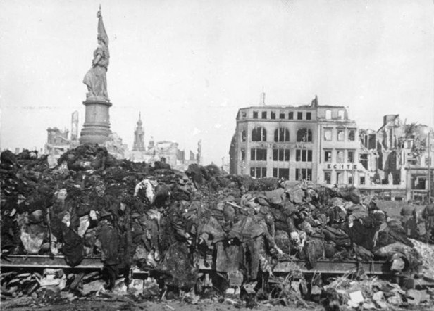 After the firebombing, tens of thousands of dead were piled in the streets of Dresden in high stacks, in some cases without identification, their bodies burned.