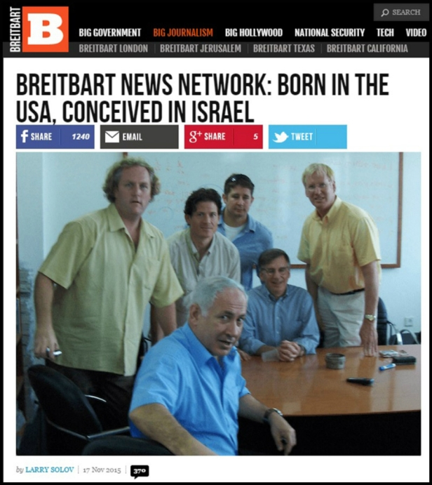 Breitbart & Netanyahoo pictured at table in Jerusalem.