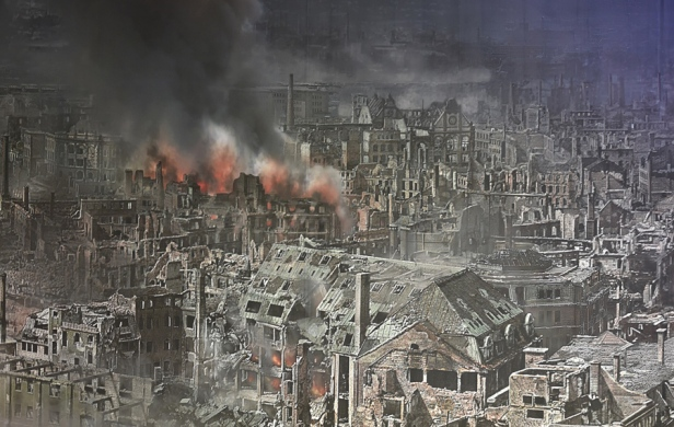 A general view of the 360 degree panorama display depicting the city of Dresden in the aftermath of the 1945 Allied firebombing, pictured on January 23, 2015 in Dresden, Germany.