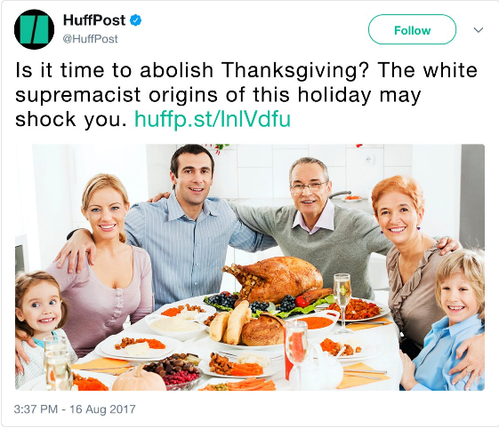 Huff post assault upon Thanksgiving