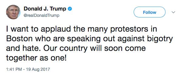 Trump tweet: 19 august 2017