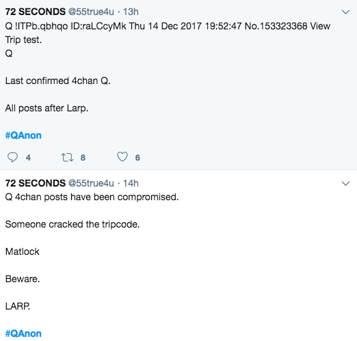 Q compromised announcement on Twitter