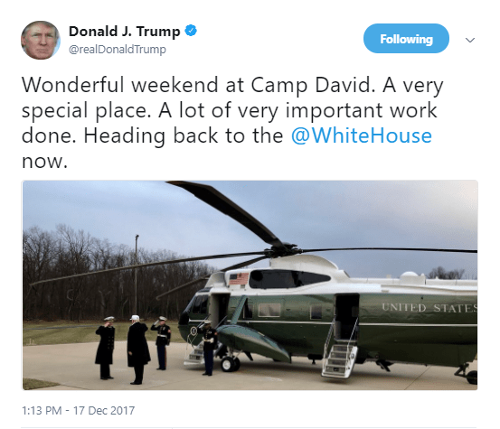 Trump - 'A very special place' tweet
