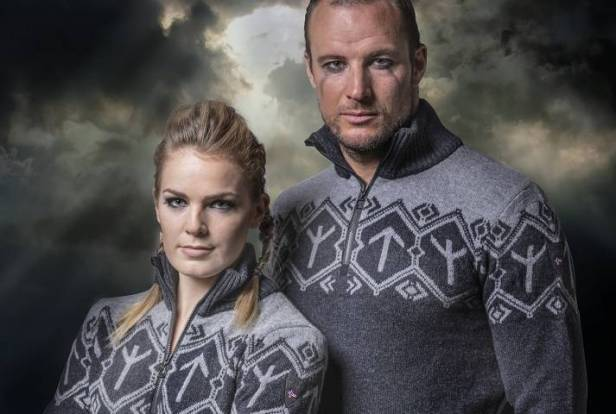The knit sweaters feature a symbol known as the Tyr rune, which stems from Nordic mythology.
