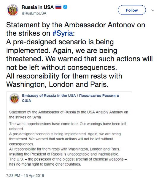 Statement via Russian Embassy Twitter
