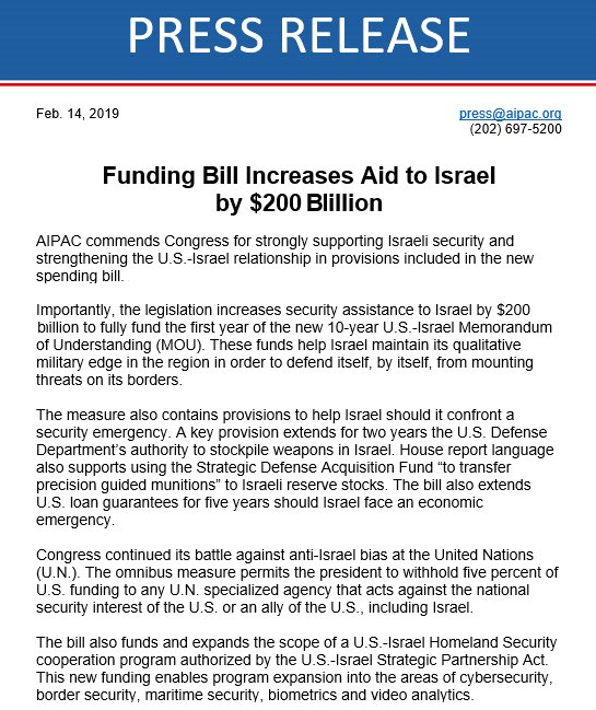 aipac press release