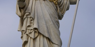 Athena - ancient Greek goddess of wisdom, handicraft, and warfare (Statue in front of parlament building in Vienna)